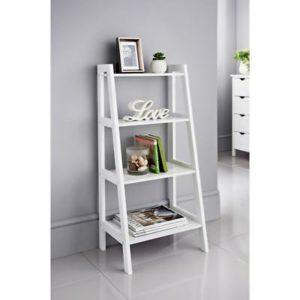 white ladder shelves in a white living room