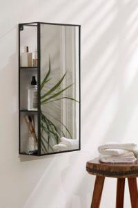 rectangular dual purpose mirror in a bathroom
