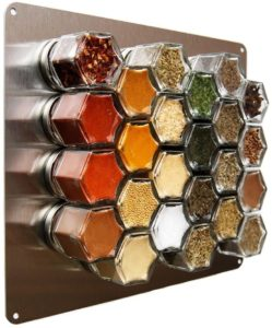 magnetic spice rack stored in a kitchen